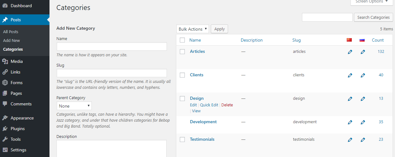 Setting WordPress categories correctly