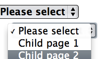 Create child page dropdown list - WordPress