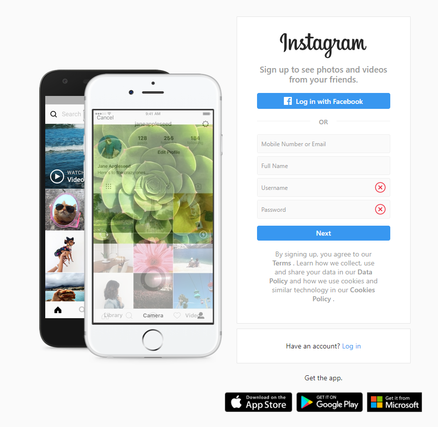 Instagram login screen