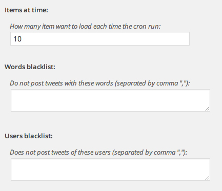 The moderated tweets preferences screen