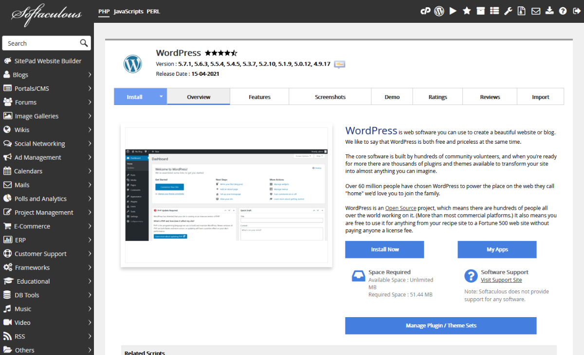 Using Softaculous to install WordPress