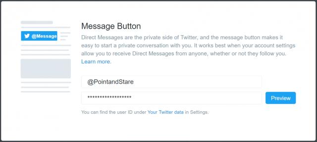 Twitter DM button