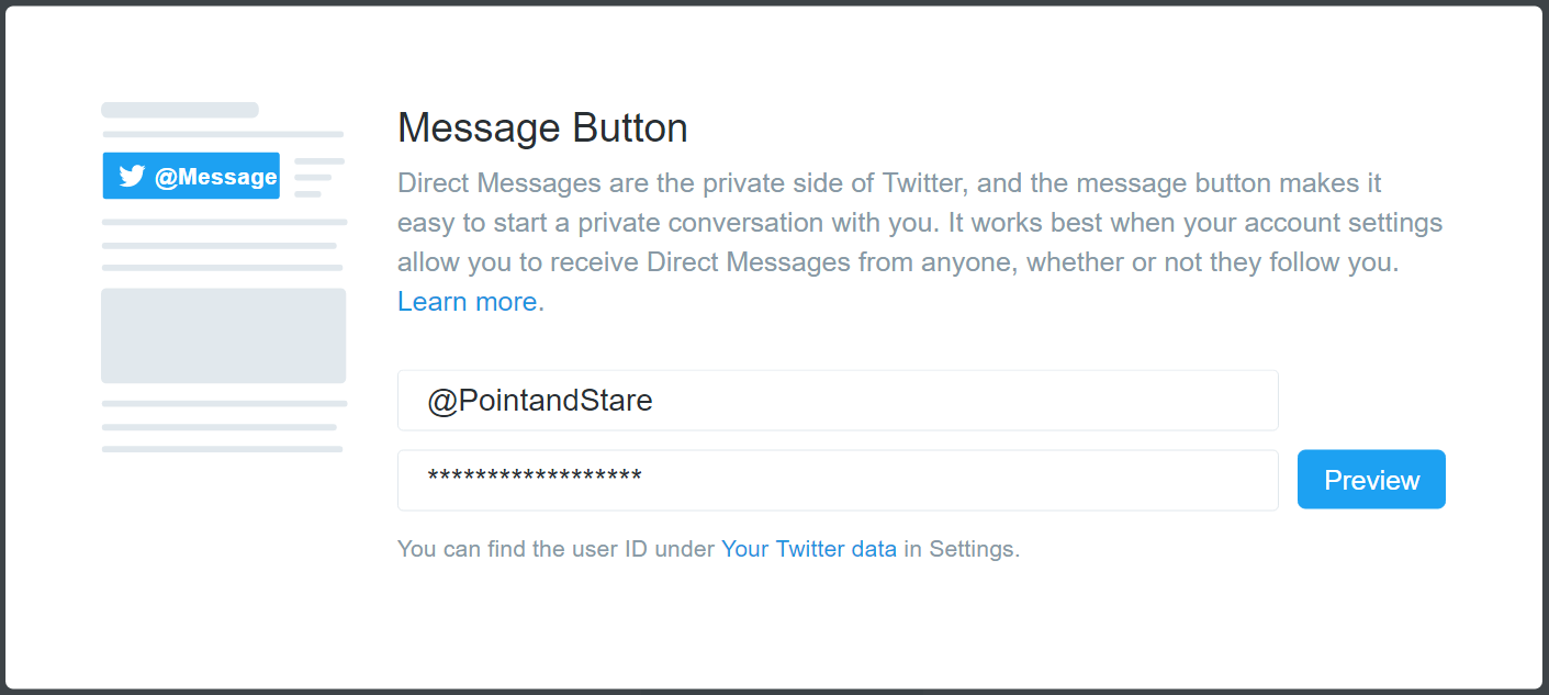 Twitter DM button