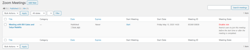 Zoom meeting listings